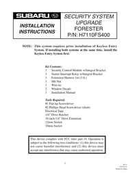 Subaru H7110FS400 User Manual