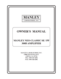 Manley Labs NEO-CLASSIC 300B User Manual