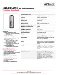 Ultralife UHE-ER14505-X, AA Size 2400mAh Lithium Battery Cell 3.6V UHE-ER14505-X Data Sheet